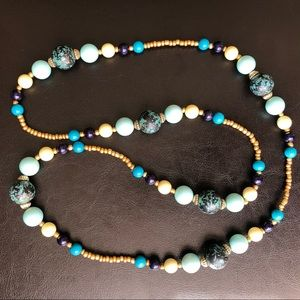 Ny&Co Blue Beaded Vintage Pearl Statement Necklace